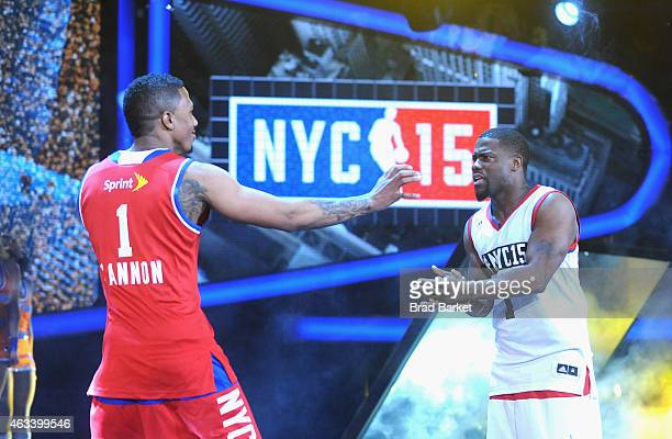 Nick Cannon and Kevin Hart attend the NBA AllStar Celebrity Game NBA All Star Weekend 2015 on February 13 2015 in New York City