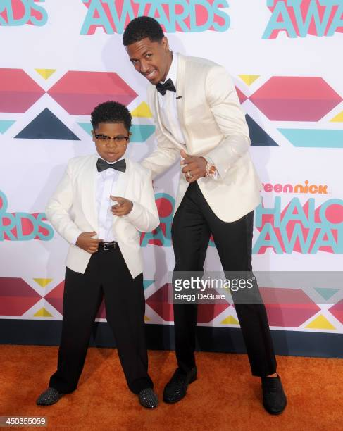 Nick Cannon and Lil PNut arrive at the 2013 TeenNick HALO Awards at the Hollywood Palladium on November 17 2013 in Hollywood California