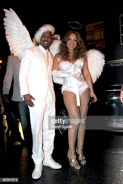 Nick Cannon and Mariah Carey attend a Halloween celebration at M2 Ultra Lounge on October 31, 2009 in New York City.