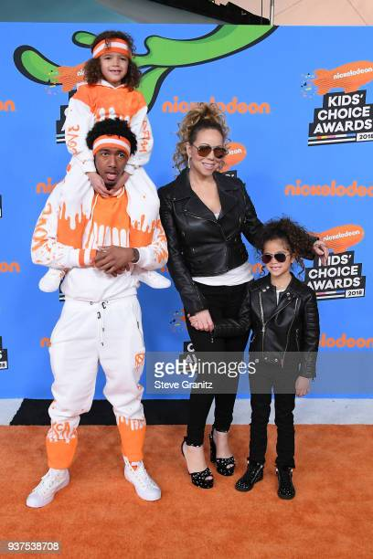 Nick Cannon and Mariah Carey with Moroccan Cannon and Monroe Cannon attend Nickelodeon's 2018 Kids' Choice Awards at The Forum on March 24 2018 in...