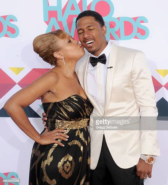 Nick Cannon and mom Beth Gardner arrive at the 2013 TeenNick HALO Awards at the Hollywood Palladium on November 17 2013 in Hollywood California