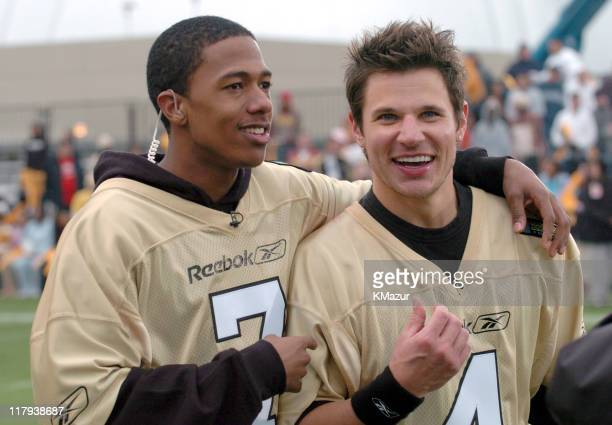 Nick Cannon and Nick Lachey during MTV's Rock N Jock Super Bowl XXXVIII at MTV Compound Near Reliant Stadium in Houston, Texas, United States.