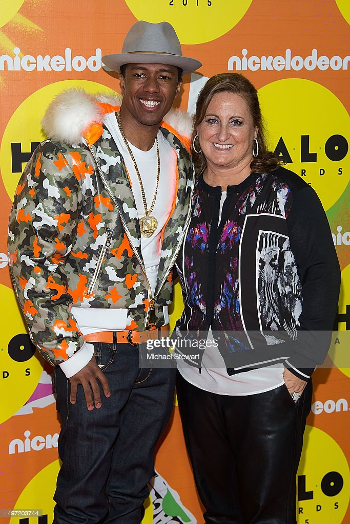 Nick Cannon (L) and President of Viacom Inc's Nickelodeon Networks Group Cyma Zarghami attend the 2015 Halo Awards at Pier 36 on November 14, 2015 in New York City.