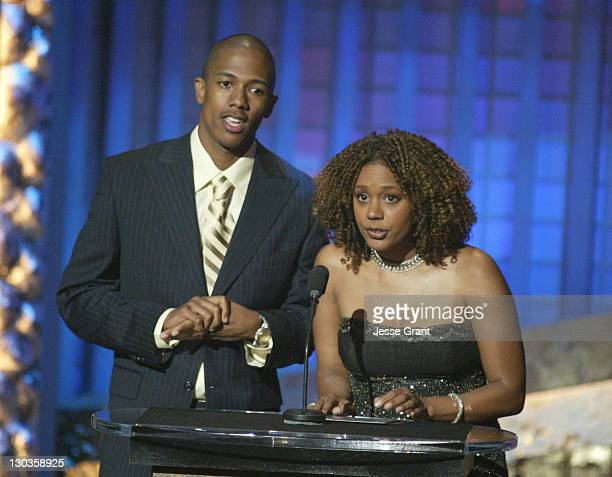 Nick Cannon and Rachel True during The 36th Annual NAACP Image Awards Show at Dorothy Chandler Pavillion in Los Angeles California United States