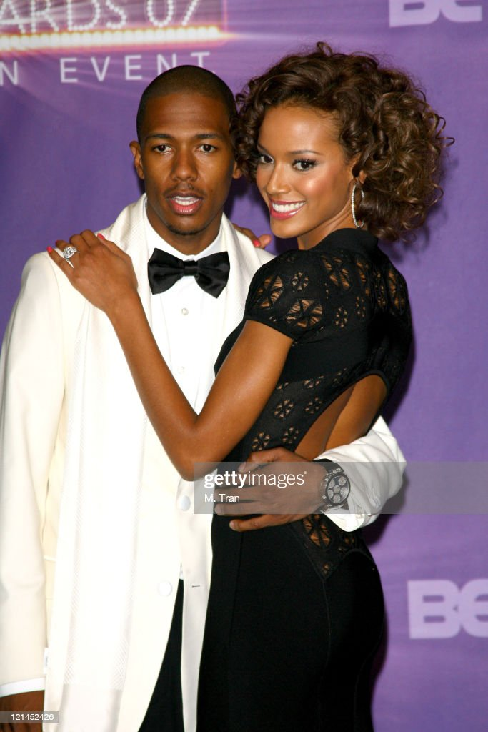 Nick Cannon and Selita Ebanks, presenters during BET Awards 2007 - Press Room at Shrine Auditorium in Los Angeles, California, United States.