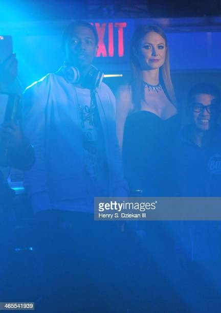 Nick Cannon and Stacy Keibler attend VH1's 'Super Bowl Blitz Six Nights Six Concerts' at Kupferberg Center for the Arts Queens College on January 27...