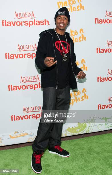 Nick Cannon arrives at Aquafina FlavorSplash Launch Party With Austin Mahone Nick Cannon at Sony Pictures Studios on October 15 2013 in Culver City...