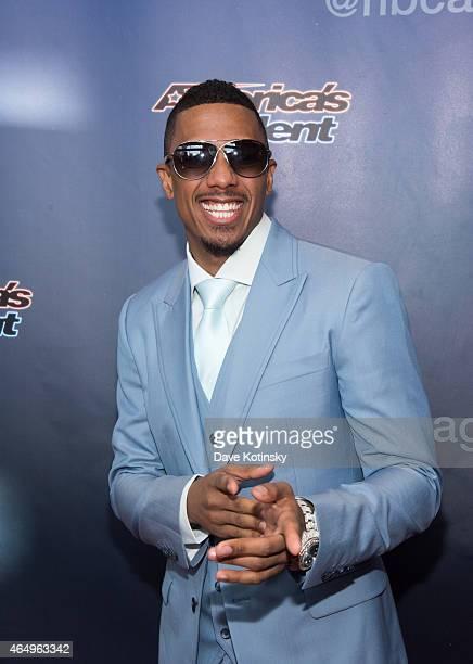 Nick Cannon arrives at the 'America's Got Talent' Season 10 Red Carpet Event at New Jersey Performing Arts Center on March 2 2015 in Newark New Jersey