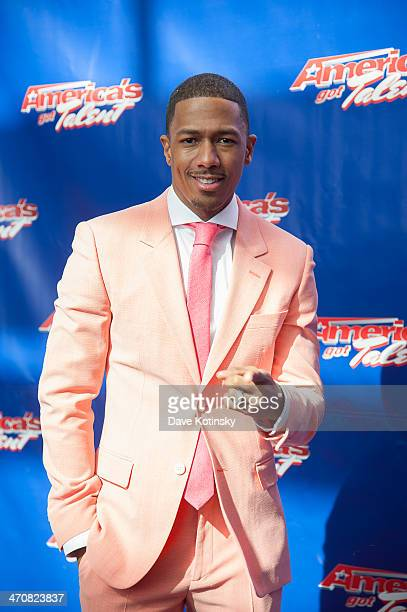 Nick Cannon arrives at the America's Got Talent Season 9 Photo Call at New Jersey Performing Arts Center on February 20 2014 in Newark New Jersey