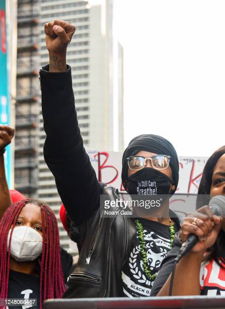 Nick Cannon attends a Black Lives Matter rally in Times Square on June 07 2020 in New York New York