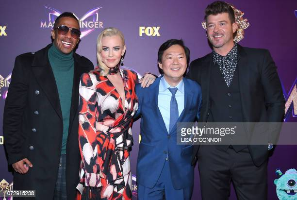 Nick Cannon Jenny McCarthy Ken Jeong and Robin Thicke attend the FOX's The Masked Singer Premiere in Los Angeles California on December 13 2018