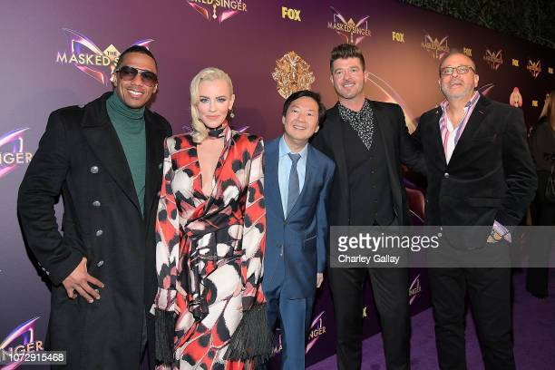 Nick Cannon Jenny McCarthy Ken Jeong Robin Thicke and executive producer Craig Plestis attend Fox's The Masked Singer Premiere Karaoke Event at The...