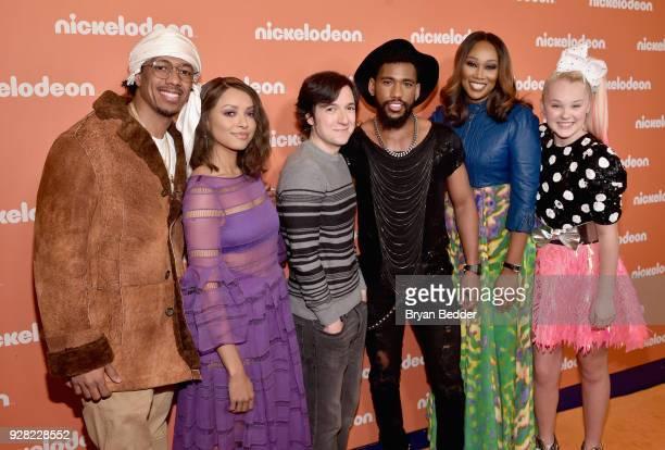 Nick Cannon Kat Graham Josh Brener Brandon Mychal Smith Yolanda Adams and JoJo Siwa attend the Nickelodeon Upfront 2018 at Palace Theatre on March 6...