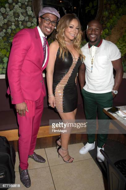 Nick Cannon Mariah Carey and Floyd Mayweather attend the MC Records Launch Party a joint venture with Epic Records at CATCH LA on May 1 2017 in West...