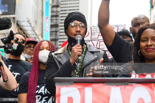 Nick Cannon speaks at a Black Lives Matter rally in Times Square on June 07, 2020 in New York, New York.