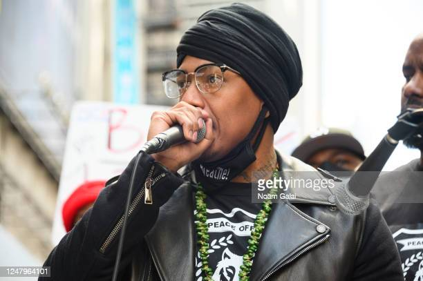 Nick Cannon speaks at a Black Lives Matter rally in Times Square on June 07 2020 in New York New York