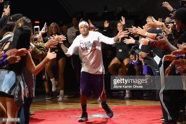 Nick Cannon takes the floor during player introductions prior to the 2018 NBA AllStar Game Celebrity Game at Los Angeles Convention Center on...