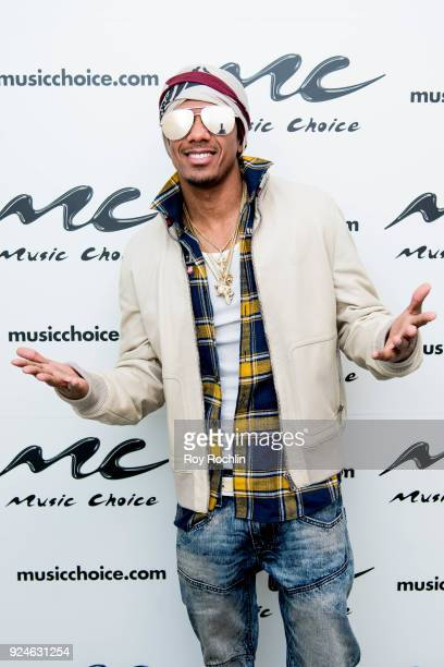 Nick Cannon visits Music Choice on February 26 2018 in New York City