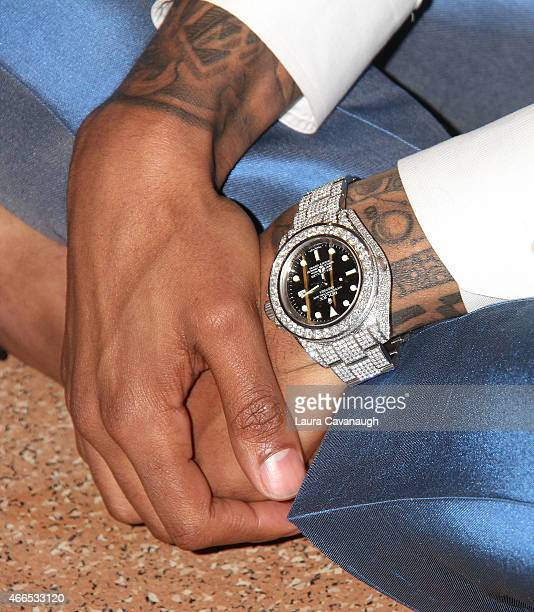 Nick Cannon watch detail attends his Neon Aliens Ate My Homework and Other Poems book launch at St Mary's Hospital For Children on March 16 2015 in...