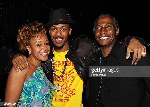 Nick Cannon with his mother Beth Hacket and father James Cannon attend Nick Cannon's 30th Birthday Bash at Universal Studios Hollywood on October 9...