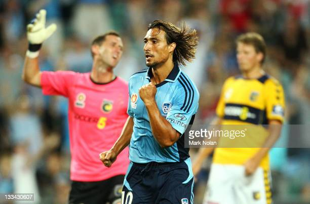 Nick Carle of Sydney celebrates his goal during the round seven A-League match between Sydney FC and the Central Coast Mariners at Sydney Football...