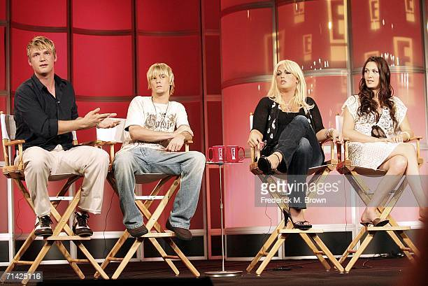 Nick Carter Aaron Carter Leslie Carter and Angel Carter speak during the 2006 Summer Television Critics Association press tour for the E...