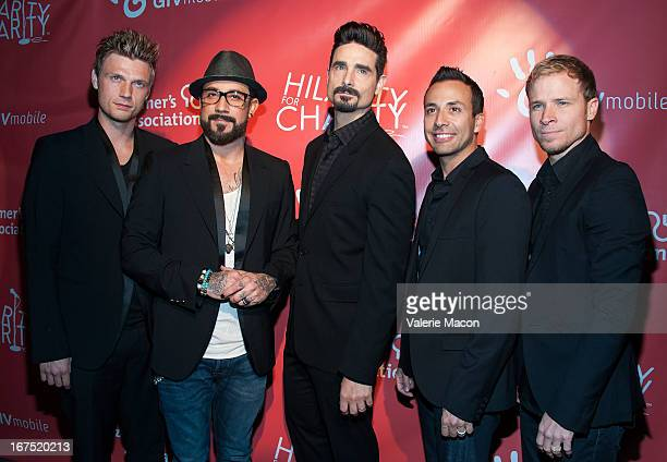 Nick Carter AJ McLean Kevin Richardson Howie Dorough and Brian Littrell of Backstreet Boys arrives at the 2nd Annual Hilarity for Charity Event at...