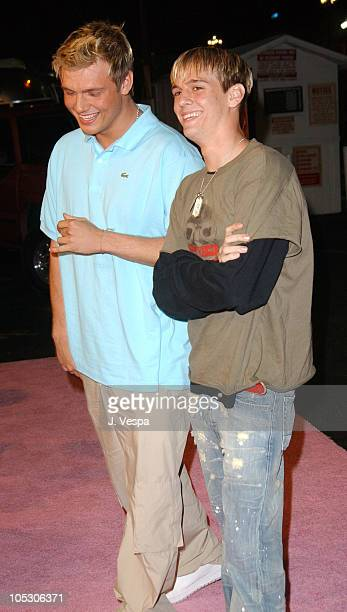 Nick Carter and Aaron Carter during The Simple Life 2 Welcome Home Party Red Carpet at The Spider Club in Hollywood California United States