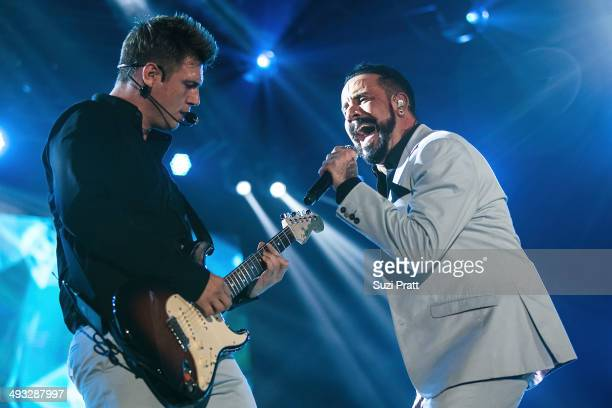 Nick Carter and AJ McLean of the Backstreet Boys perform live on stage at WaMu Theater on May 22, 2014 in Seattle, Washington.