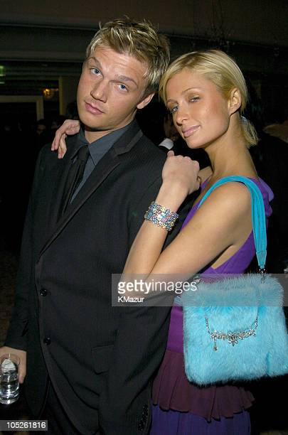 Nick Carter and Paris Hilton during 2004 Clive Davis PreGrammy Party Inside Arrivals at Beverly Hills Hotel in Beverly Hills California United States