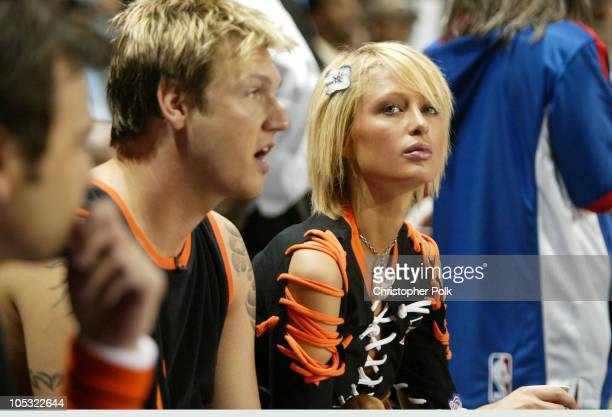 Nick Carter and Paris Hilton during NBA AllStar Celebrity Game at Los Angeles Convention Center in Los Angeles California United States