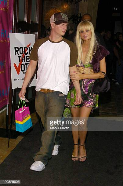 Nick Carter and Paris Hilton during Ralph Lauren Fragrances Honors Rock The Vote Hosted by Shane West and Hollywood Agent Eric Podwall Arrivals at...