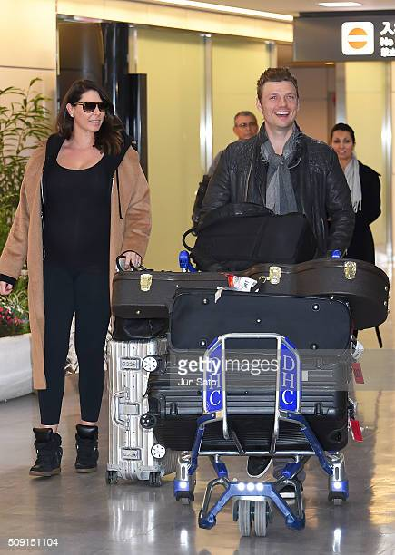 Nick Carter and wife Lauren Kitt Carter are seen upon arrival at Narita International Airport on February 9 2016 in Narita Japan