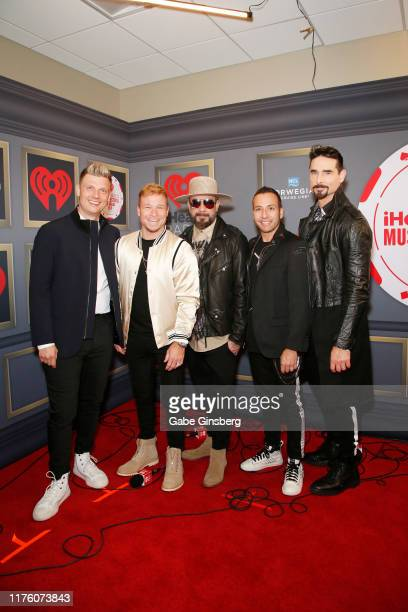 Nick Carter Brian Littrell AJ McLean Howie Dorough and Kevin Richardson attends the 2019 iHeartRadio Music Festival at TMobile Arena on September 20...