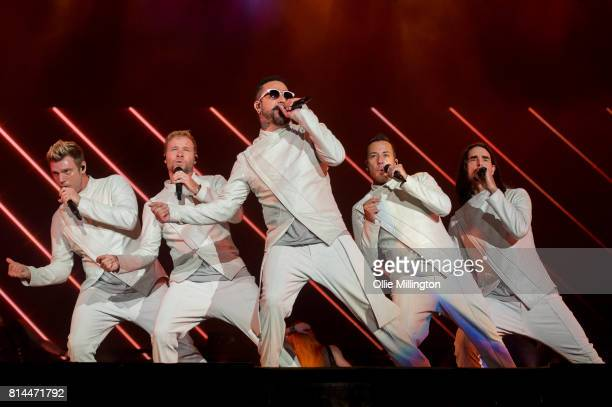 Nick Carter Brian Littrell AJ McLean Howie Dorough and Kevin Richardson of Backstreet Boys perform onstage headlining Day 4 of the 50th Festival...