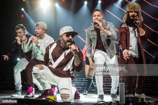 Nick Carter Brian Littrell AJ McLean Howie Dorough Kevin Richardson of the Backstreet Boys perform at Bankers Life Fieldhouse on December 12 2017 in...