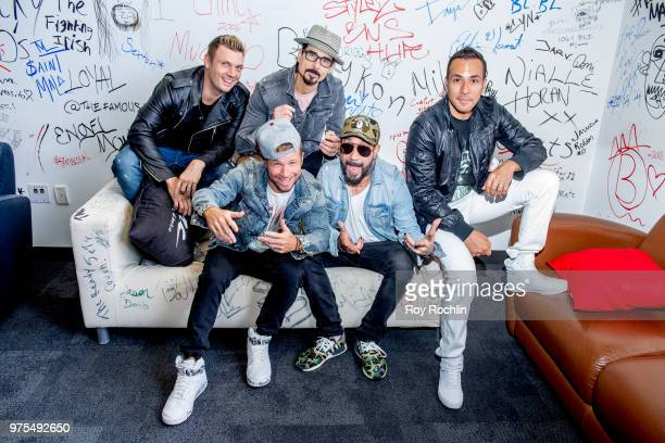 Nick Carter Brian Littrell Kevin Richardson AJ McLean and Howie Dorough of The Backstreet Boys Visit Music Choice at Music Choice on June 15 2018 in...