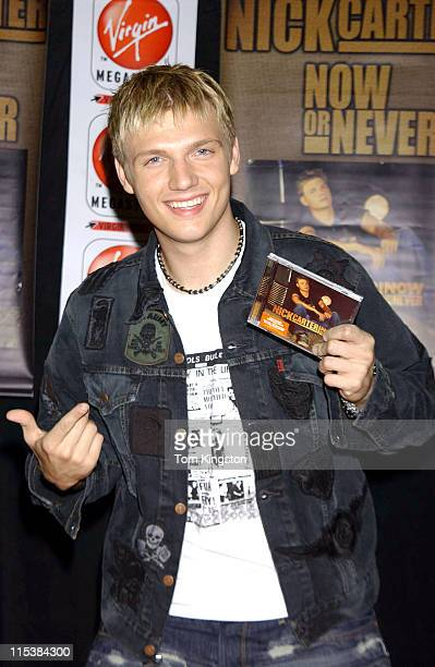 Nick Carter during Nick Carter Promoting his new CD Now Or Never at the Virgin Records store at Times Square in New York City New York United States