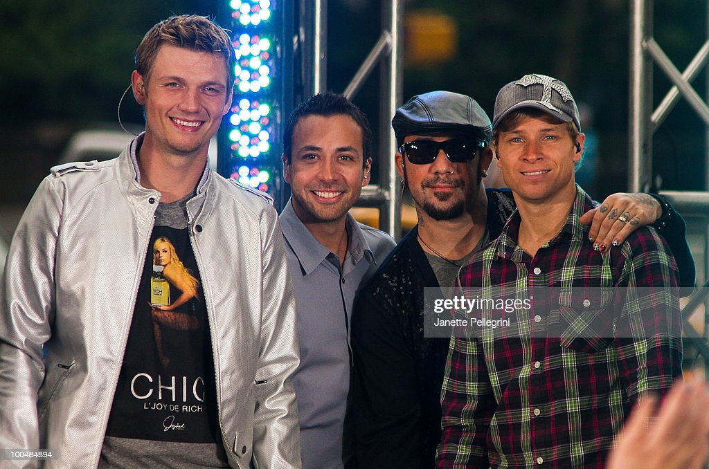 Nick Carter, Howie Dorough, A. J. McLean and Brian Littrell of the Backstreet Boys peform on CBS' The Early Show Summer Concert Series at the CBS Early Show Studio Plaza on May 24, 2010 in New York City.