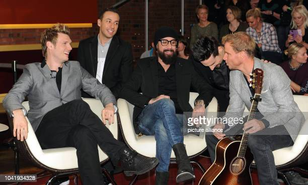 Nick Carter Howie Dorough AJ McLean Kevin Richardson and Brian Littrell from the US music group Backstreet Boys pose during the taping of the...
