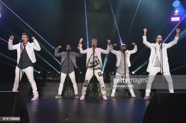 Nick Carter Howie Dorough Brian Littrell AJ McLean and Kevin Richardson of The Backstreet Boys perform at 1035 KTU's KTUphoria on June 16 2018 in...