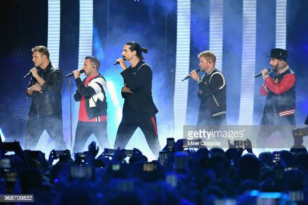 Nick Carter Howie Dorough Kevin Richardson Brian Littrell and AJ McLean of Backstreet Boys perform onstage at the 2018 CMT Music Awards at...