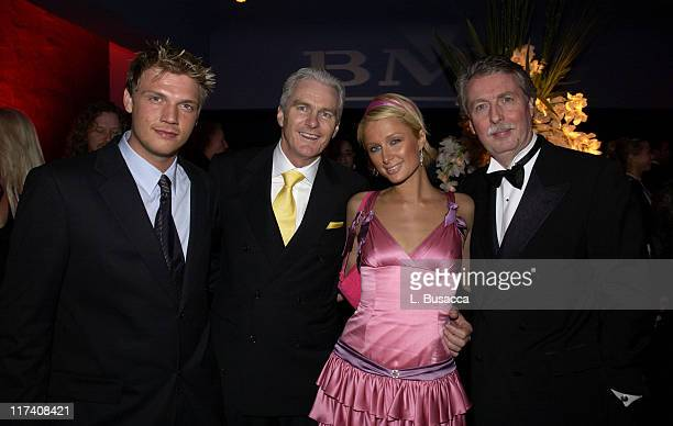 Nick Carter Michael Smellie COO BMG Paris Hilton and Rolf SchmidtHolz BMG Chairman and CEO
