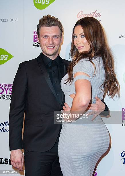 Nick Carter of Backstreet Boys and wife Lauren Kitt Carter arrive at the Premiere Of Gravitas Ventures' Backstreet Boys Show 'Em What You're Made Of...