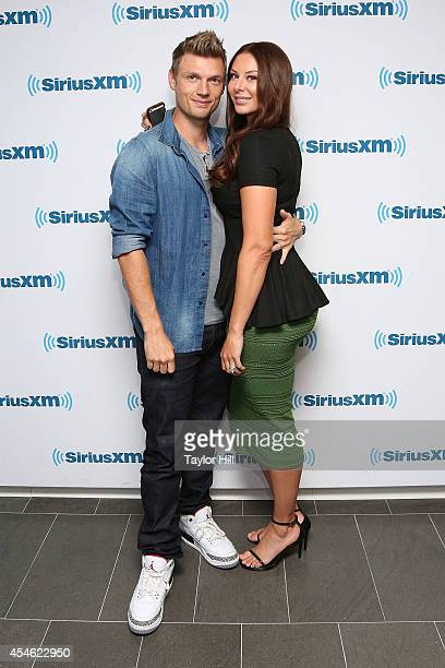 Nick Carter of Backstreet Boys and wife Lauren Kitt Carter visit the SiriusXM Studios on September 4 2014 in New York City
