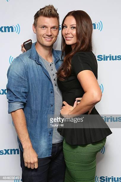 Nick Carter of Backstreet Boys and wife Lauren Kitt Carter visit the SiriusXM Studios on September 4 2014 in New York City