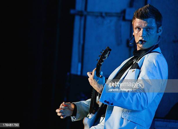 Nick Carter of the Backsteet Boys performs at Nikon at Jones Beach Theater on August 13 2013 in Wantagh New York