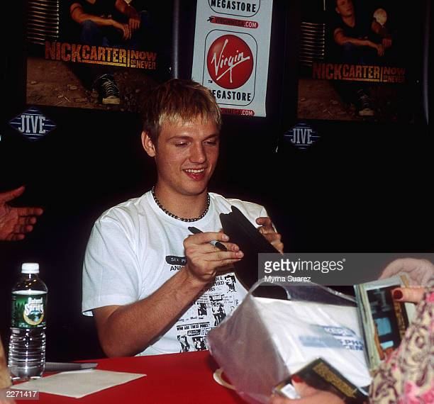 Nick Carter of the Backstreet Boys at the Virgin Mega Store in Manhattan to  sign copies