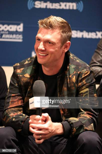 Nick Carter of The Backstreet Boys talks with The Morning Mash Up on SiriusXM Hits 1 during a backstage broadcast leading up to the Billboard Music...