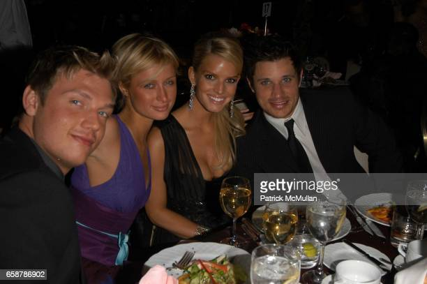 Nick Carter Paris Hilton Jessica Simpson and Nick Lachey attend Clive Davis preGrammy Awards party at Beverly Hills Hotel on February 7 2004 in Los...